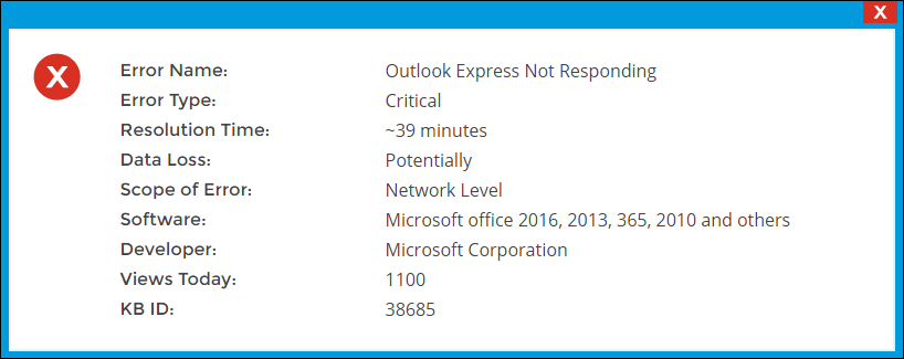 Outlook Express Not Responding Error