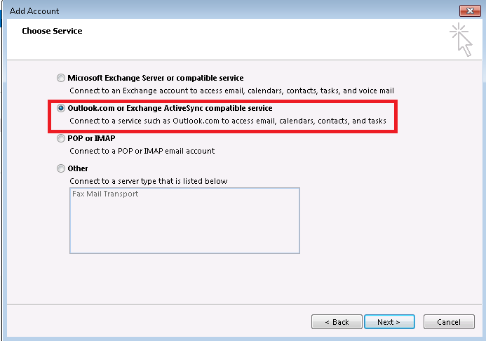 Outlook.com/Exchange ActiveSync service