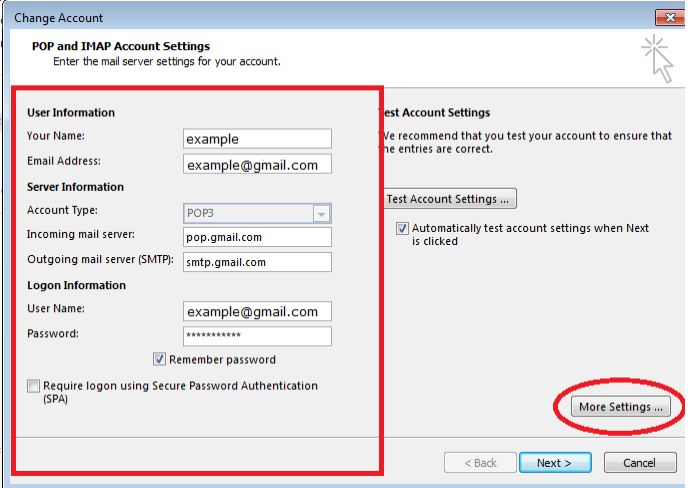 Setup Outlook POP Account