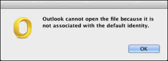 outlook cannot open the file because it is not associated with the default identity