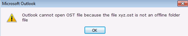 Cannot open your default email folder, the file xyz.ost is not an Offline Folder