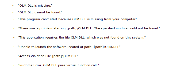 Fix OLM.dll Not Found