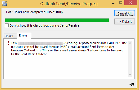 Outlook Sending and Receiving Error