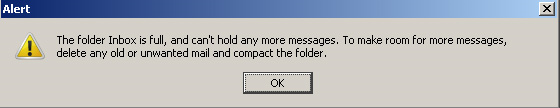 Thunderbird Inbox is full and can't hold any more messages