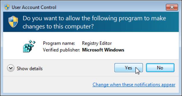 1st Step Open Registry Editor