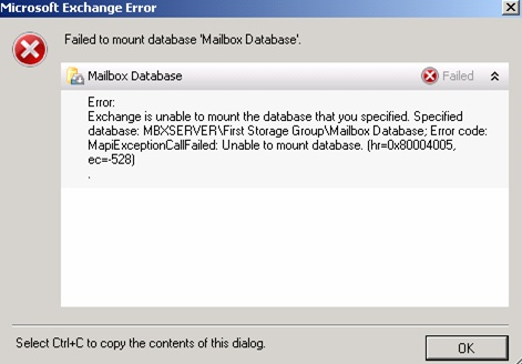 unable to mount database in Exchange