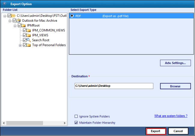 Save PST file as PDF