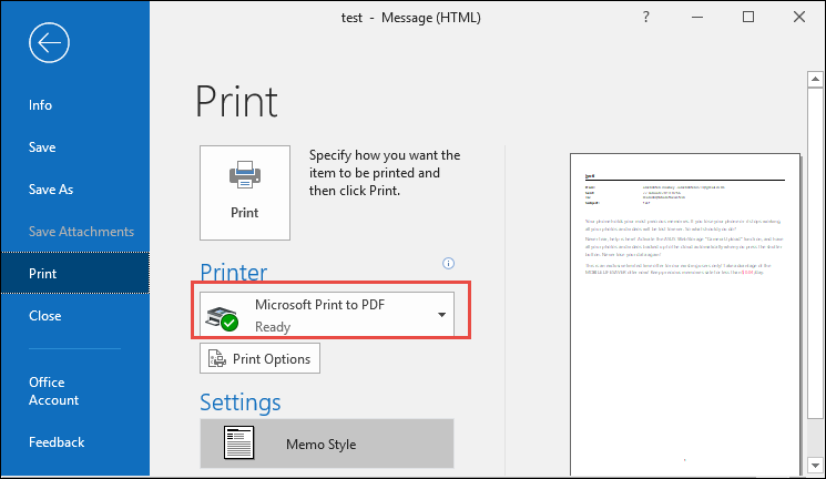 click Print option