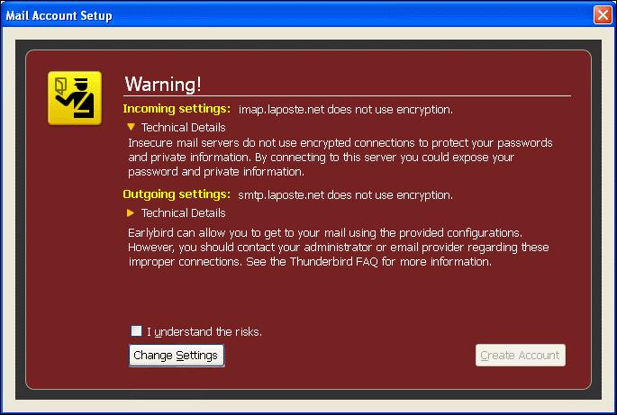 Mozilla Thunderbird errors