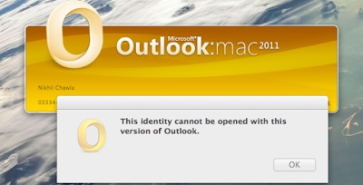 Outlook 2011 for Mac Identity Cannot be Opened