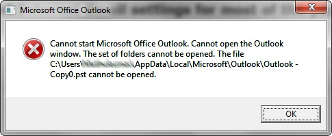 Cannot Start Microsoft Outlook. Cannot Open The Outlook Window
