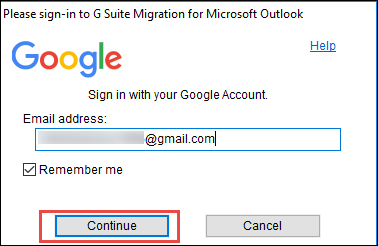 Enter Gmail credential to migrate .pst file