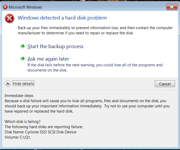 Windows Detected A Hard Disk Problem Backup Your Files