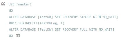 SQL Database Log File Truncate vs Shrink