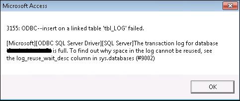 SQL Server Error 9002: The Transaction Log for Database is Full