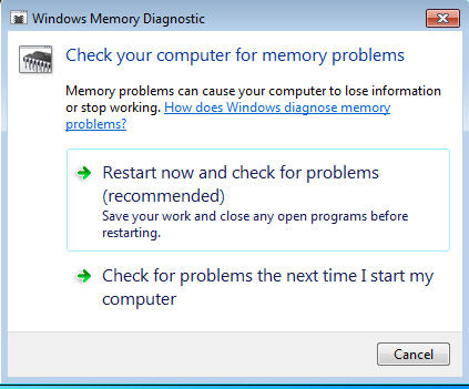 Run Windows Memory Diagnostics