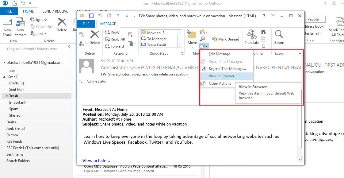 View Outlook Mail in Browser Option