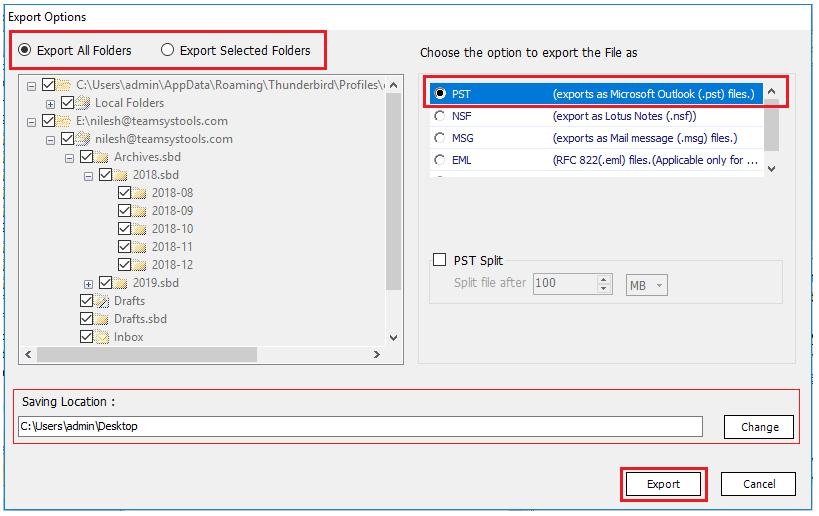 customize export