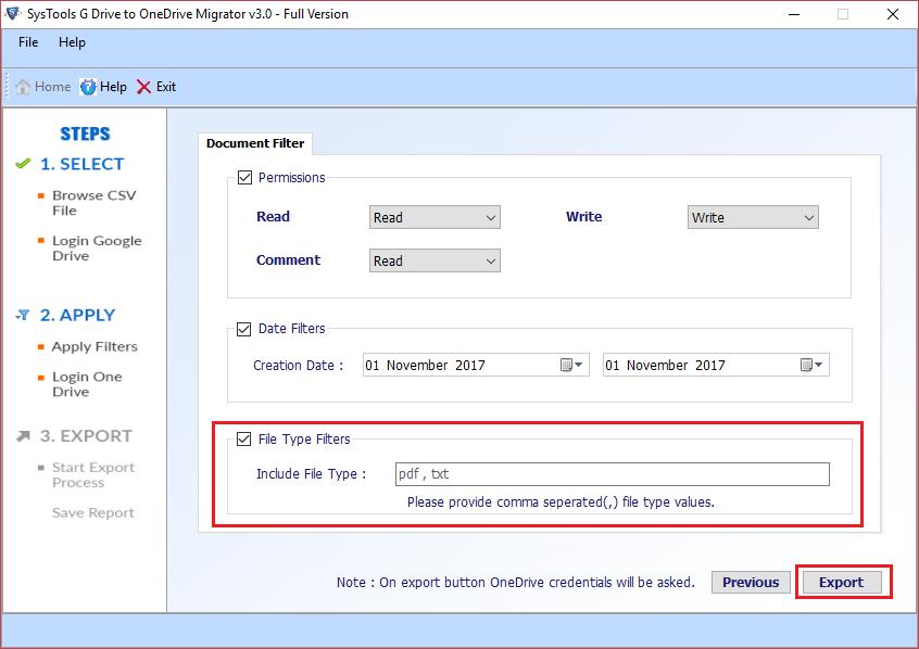 Click Export & Add OneDrive account credentials