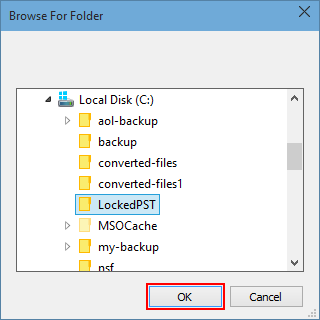 Locate PST file and click Ok button