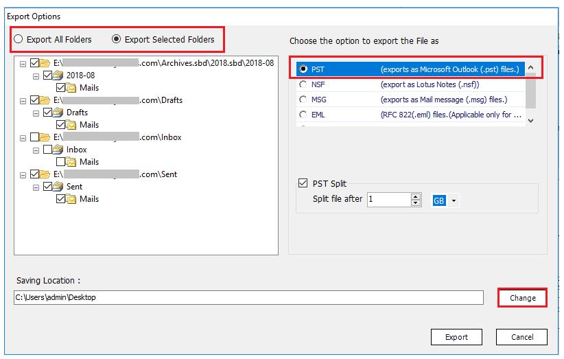 export thunderbird message storage type to pst