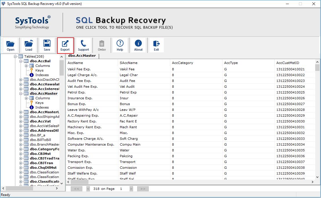 export-recovered-bak-data