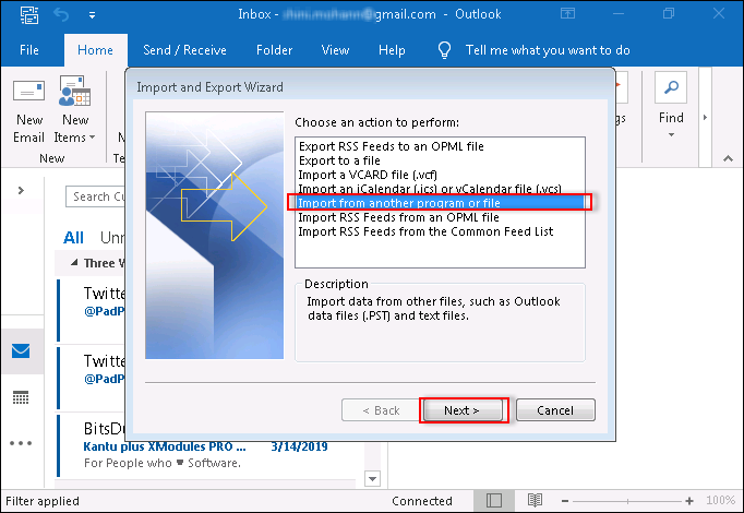 Select Import from another program or file option