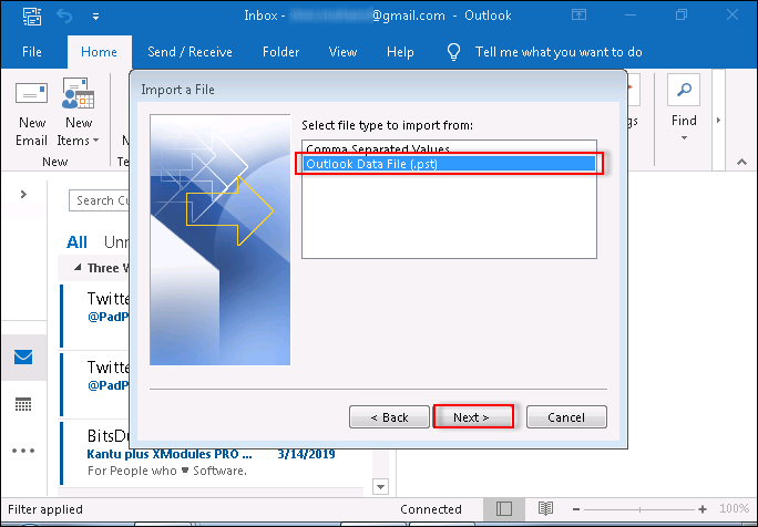 Select Outlook data file .pst option