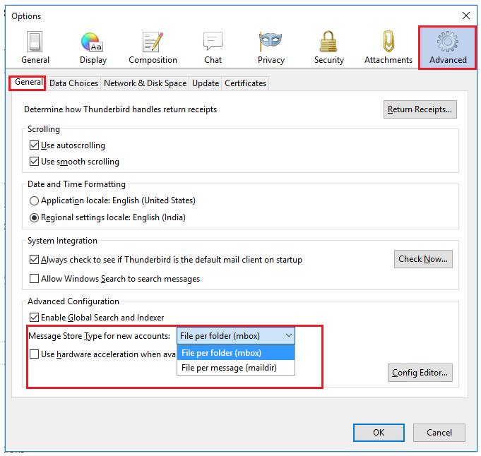 Convert Thunderbird Message Storage Type to PST | Both MBOX