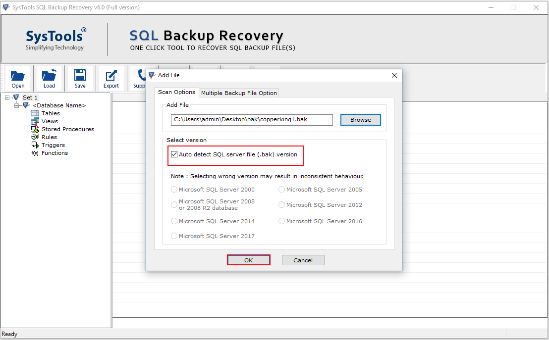 Auto Detect SQL BAK File Version