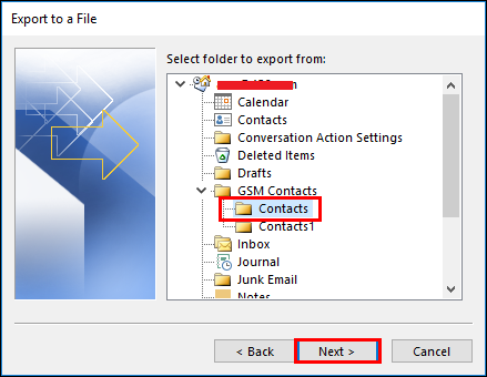 Extract Contacts from PST Folder