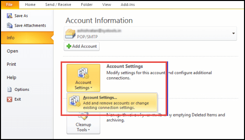 In file menu, choose Account Settings