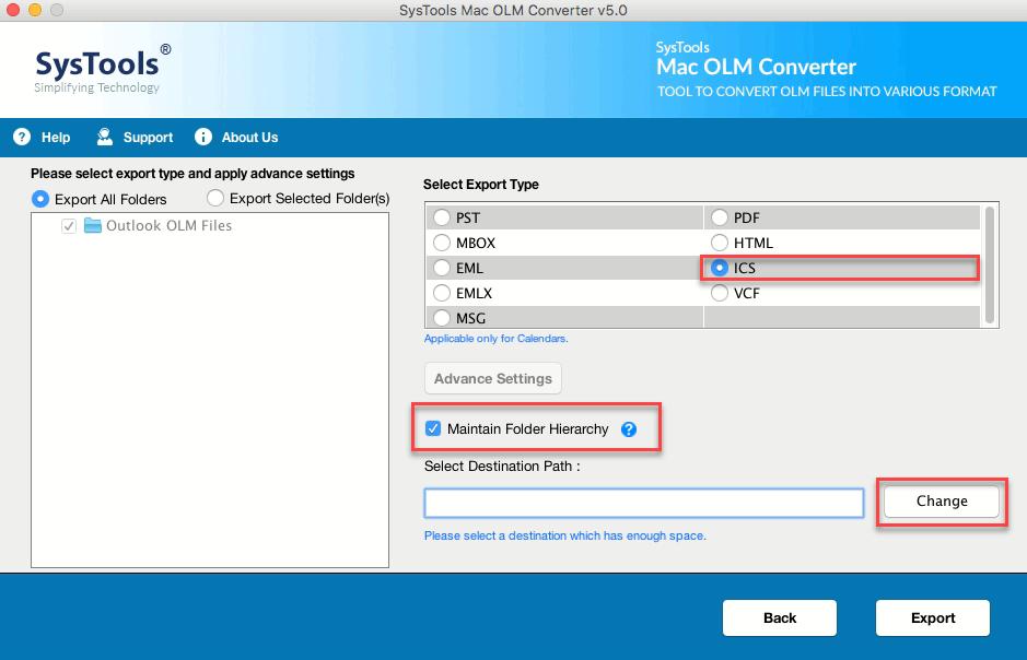 Mac OLM Converter - Transfer Mac Outlook Calendar to ICS