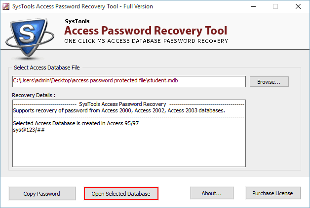 open password protected access database