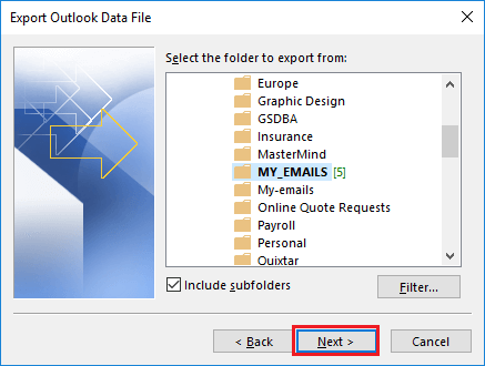 Choose the mailbox folder