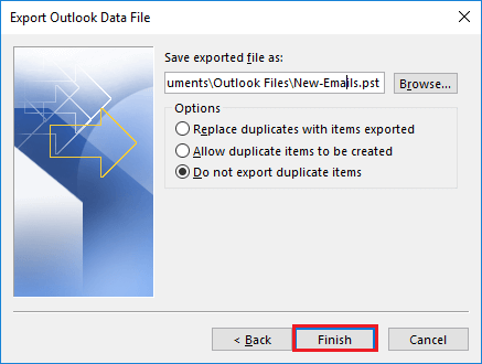 Select the storage path to save the PST file