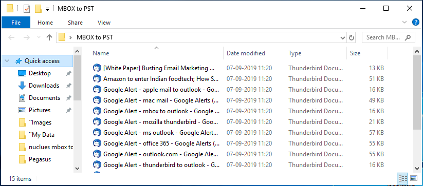 all the MBOX emails are saved as EML files