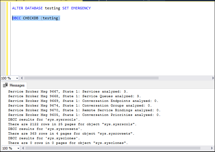 SQL Suspect Mode Recovery