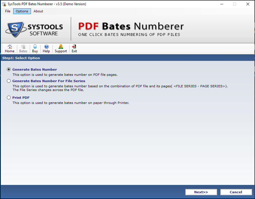 Generate Bates Number option