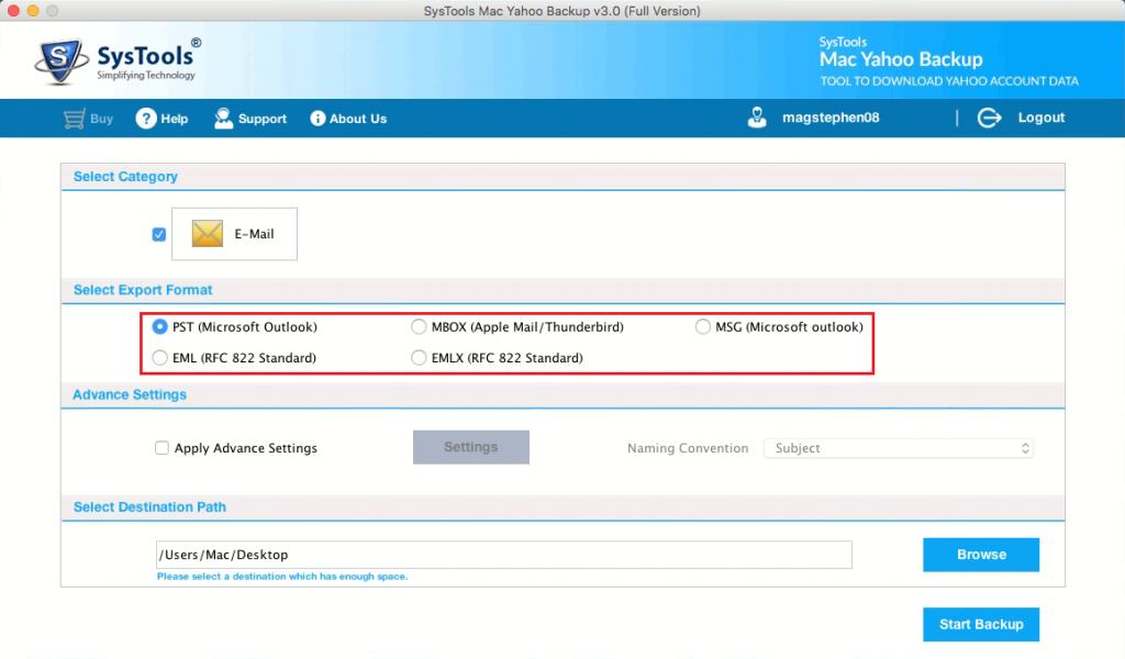 select backup file format