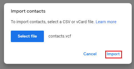 Import contacts from excel to gmail