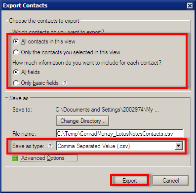 export Lotus Notes contacts to Outlook
