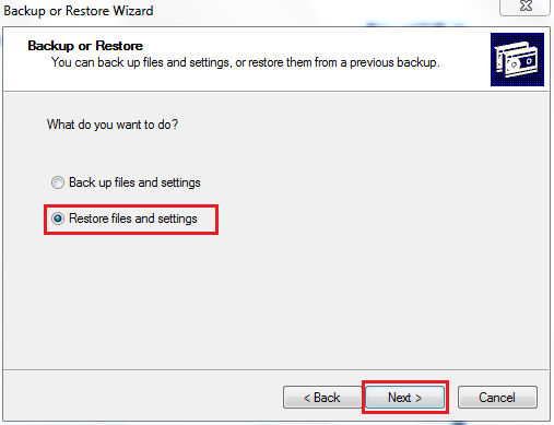 Restore files and settings
