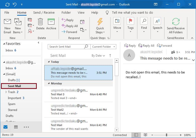 Open Sent Mail Folder
