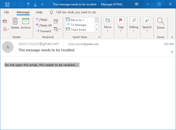 Open Email in New Window