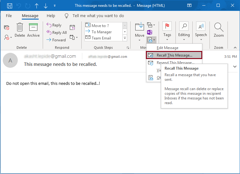 Move Ribbon - Recall Email Message in Outlook
