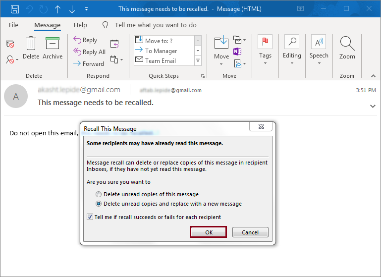 2 Option to Recall Email Message in Outlook 2019, 2016, 2013