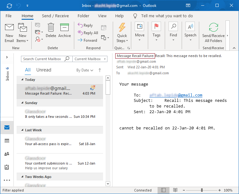 Done Recall Email Message in Outlook 2019, 2016, 2013
