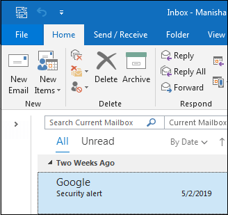 Go to File to Copy Outlook Folder Structure