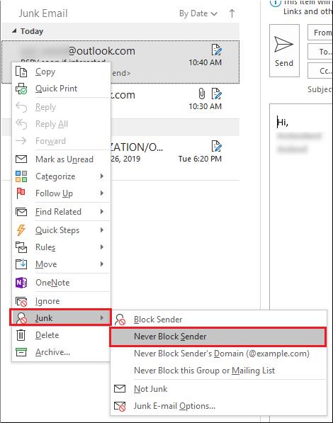 Junk - Never Block Sender